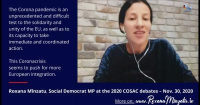 Particip la COSAC 2020 (Intervenția mea la dezbateri /En)