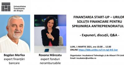Voi vorbi despre finanțarea afacerilor noi & start-up-urilor la Incubatorul Tehnologic și de Afaceri UNITBV