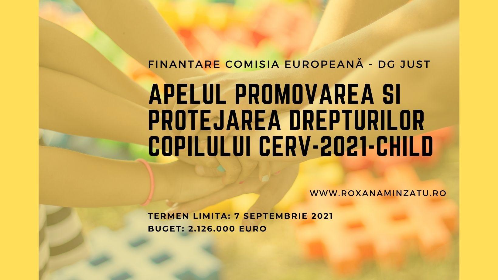 Oportunitate finanțare C.E. - Promovarea și protejarea drepturilor copilului (CERV 2021)